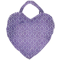 Hexagon1 White Marble & Purple Brushed Metal (r) Giant Heart Shaped Tote by trendistuff