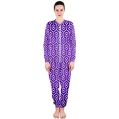 Hexagon1 White Marble & Purple Brushed Metal Onepiece Jumpsuit (ladies)