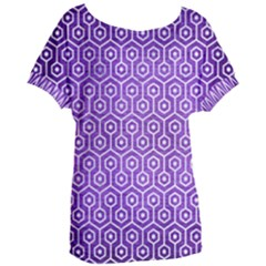 Hexagon1 White Marble & Purple Brushed Metal Women s Oversized Tee