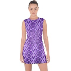 Hexagon1 White Marble & Purple Brushed Metal Lace Up Front Bodycon Dress