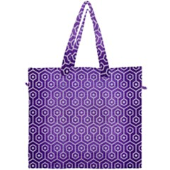 Hexagon1 White Marble & Purple Brushed Metal Canvas Travel Bag by trendistuff