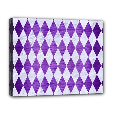 Diamond1 White Marble & Purple Brushed Metal Deluxe Canvas 20  X 16   by trendistuff