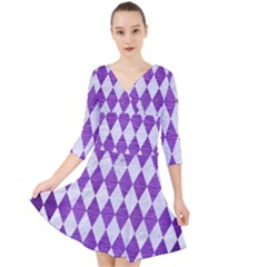 Diamond1 White Marble & Purple Brushed Metal Quarter Sleeve Front Wrap Dress