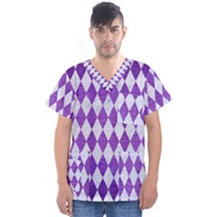 Diamond1 White Marble & Purple Brushed Metal Men s V Neck Scrub Top