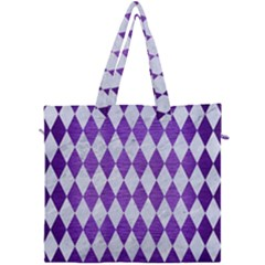 Diamond1 White Marble & Purple Brushed Metal Canvas Travel Bag by trendistuff