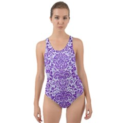 Damask2 White Marble & Purple Brushed Metal (r) Cut Out Back One Piece Swimsuit