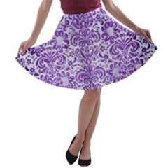 Damask2 White Marble & Purple Brushed Metal (r) A Line Skater Skirt