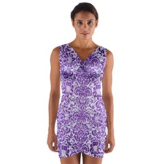 Damask2 White Marble & Purple Brushed Metal (r) Wrap Front Bodycon Dress