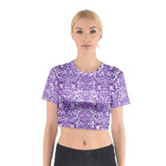 Damask2 White Marble & Purple Brushed Metal (r) Cotton Crop Top