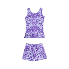 Damask2 White Marble & Purple Brushed Metal (r) Kid s Boyleg Swimsuit