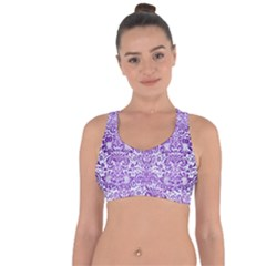Damask2 White Marble & Purple Brushed Metal (r) Cross String Back Sports Bra