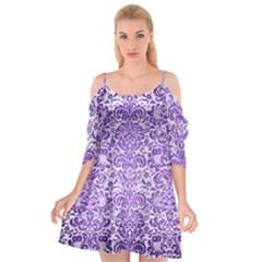 Damask2 White Marble & Purple Brushed Metal (r) Cutout Spaghetti Strap Chiffon Dress