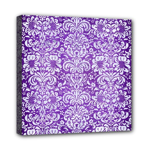 Damask2 White Marble & Purple Brushed Metal Mini Canvas 8  X 8