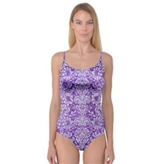 Damask2 White Marble & Purple Brushed Metal Camisole Leotard
