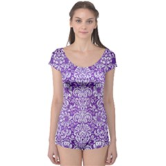 Damask2 White Marble & Purple Brushed Metal Boyleg Leotard