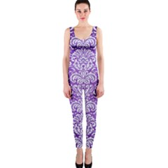 Damask2 White Marble & Purple Brushed Metal One Piece Catsuit