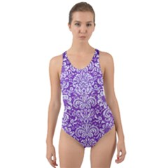 Damask2 White Marble & Purple Brushed Metal Cut Out Back One Piece Swimsuit