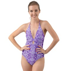 Damask2 White Marble & Purple Brushed Metal Halter Cut Out One Piece Swimsuit