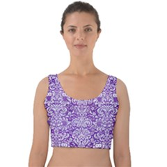 Damask2 White Marble & Purple Brushed Metal Velvet Crop Top