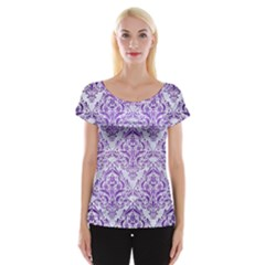 Damask1 White Marble & Purple Brushed Metal (r) Cap Sleeve Tops