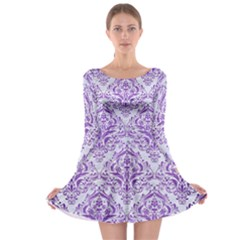Damask1 White Marble & Purple Brushed Metal (r) Long Sleeve Skater Dress