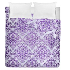 Damask1 White Marble & Purple Brushed Metal (r) Duvet Cover Double Side (queen Size) by trendistuff