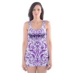 Damask1 White Marble & Purple Brushed Metal (r) Skater Dress Swimsuit