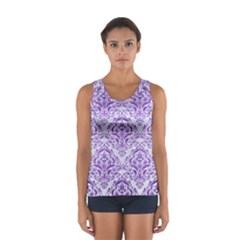 Damask1 White Marble & Purple Brushed Metal (r) Sport Tank Top