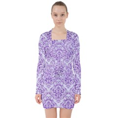 Damask1 White Marble & Purple Brushed Metal (r) V Neck Bodycon Long Sleeve Dress