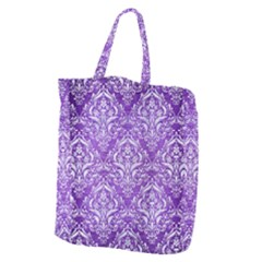 Damask1 White Marble & Purple Brushed Metal Giant Grocery Zipper Tote