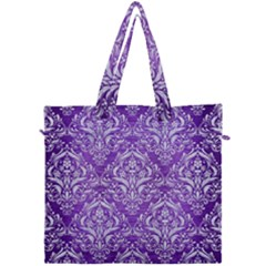 Damask1 White Marble & Purple Brushed Metal Canvas Travel Bag by trendistuff