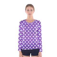 Circles3 White Marble & Purple Brushed Metal (r) Women s Long Sleeve Tee