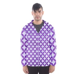 Circles3 White Marble & Purple Brushed Metal (r) Hooded Windbreaker (men)