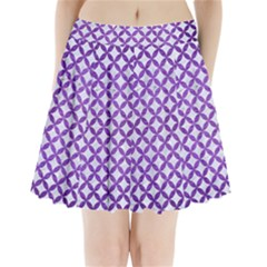 Circles3 White Marble & Purple Brushed Metal (r) Pleated Mini Skirt