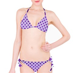 Circles3 White Marble & Purple Brushed Metal Classic Bikini Set