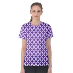 Circles3 White Marble & Purple Brushed Metal Women s Cotton Tee
