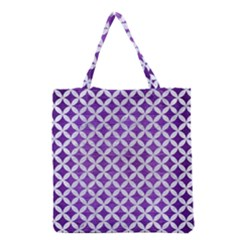 Circles3 White Marble & Purple Brushed Metal Grocery Tote Bag