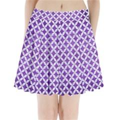 Circles3 White Marble & Purple Brushed Metal Pleated Mini Skirt