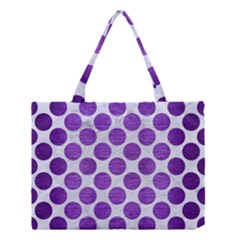 Circles2 White Marble & Purple Brushed Metal (r) Medium Tote Bag by trendistuff