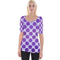 Circles2 White Marble & Purple Brushed Metal (r) Wide Neckline Tee