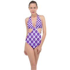 Circles2 White Marble & Purple Brushed Metal (r) Halter Front Plunge Swimsuit