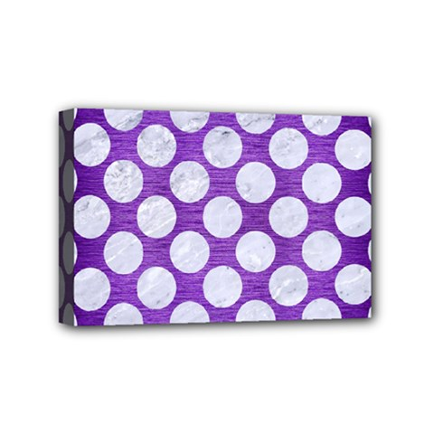 Circles2 White Marble & Purple Brushed Metal Mini Canvas 6  X 4  by trendistuff