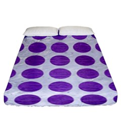 Circles1 White Marble & Purple Brushed Metal (r) Fitted Sheet (king Size)