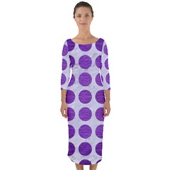 Circles1 White Marble & Purple Brushed Metal (r) Quarter Sleeve Midi Bodycon Dress