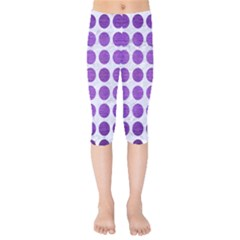 Circles1 White Marble & Purple Brushed Metal (r) Kids  Capri Leggings