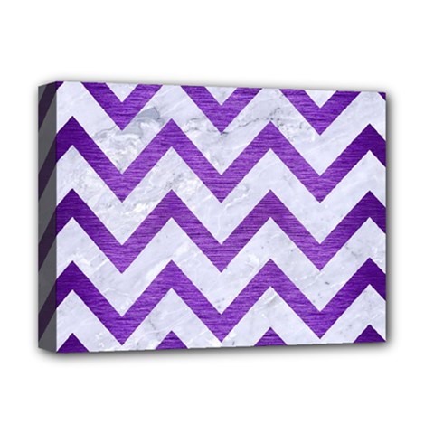 Chevron9 White Marble & Purple Brushed Metal (r) Deluxe Canvas 16  X 12