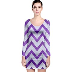 Chevron9 White Marble & Purple Brushed Metal (r) Long Sleeve Bodycon Dress