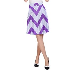 Chevron9 White Marble & Purple Brushed Metal (r) A Line Skirt