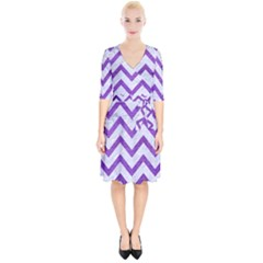 Chevron9 White Marble & Purple Brushed Metal (r) Wrap Up Cocktail Dress