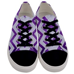 Chevron9 White Marble & Purple Brushed Metal (r) Men s Low Top Canvas Sneakers